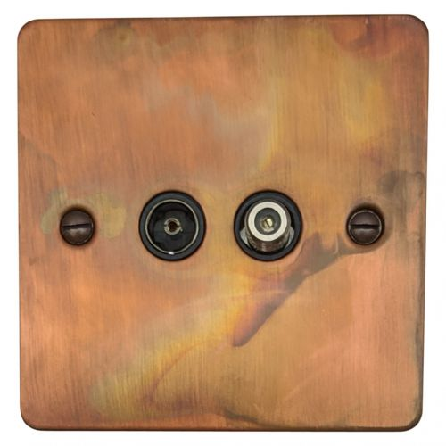 G&H FTC38B Flat Plate Tarnished Copper 1 Gang TV Coax & Satellite Socket Point